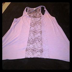 Xhiliration lavendar flowy lace cotton tank xxl